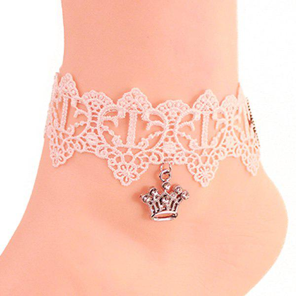 Crochet Lace Crown Charm Anklet - WHITE