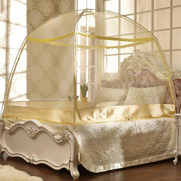 Fashionable Mongolian Yurt Three Sides Openning Bedroom Mosquito Net - YELLOW L