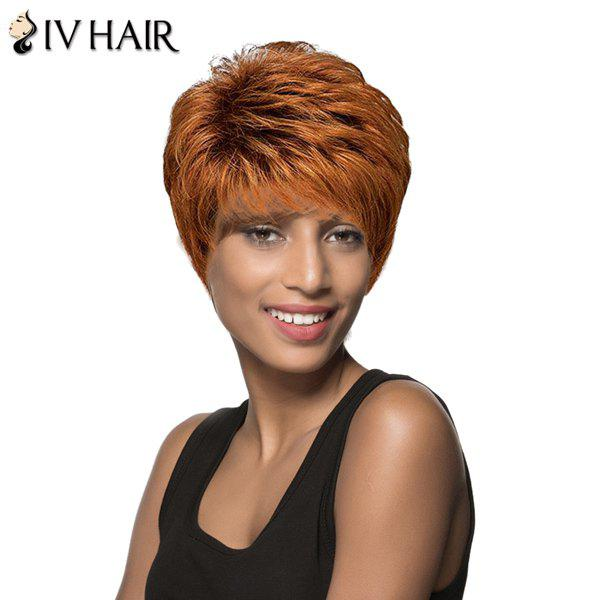 Spiffy Short Boy Cut Brown Mixed Human Hair Fluffy Straight Capless Siv Hair Wig For Women - AUBURN BROWN