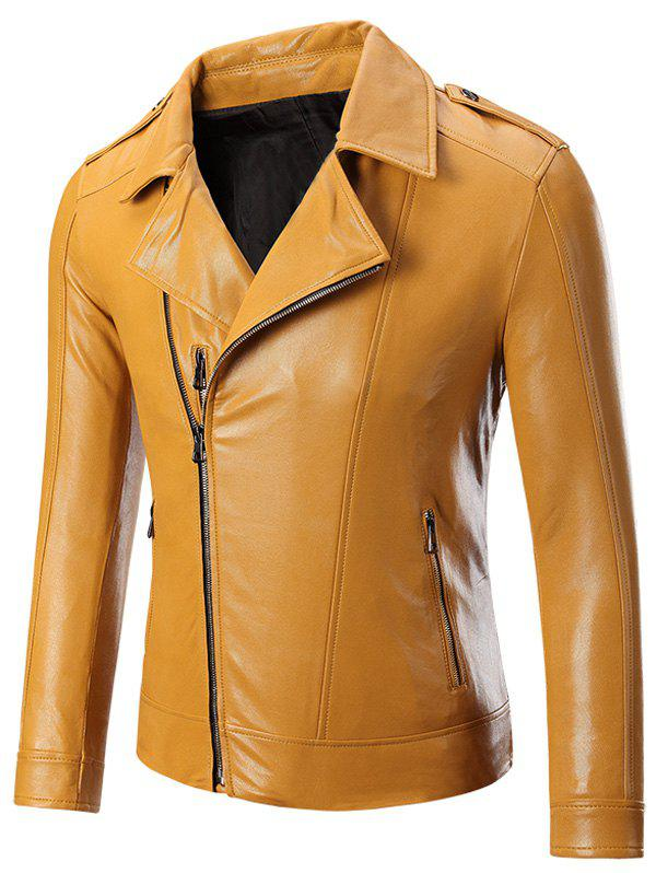 Epaulet Zippered Lapel Long Sleeve Men's Faux Leather Jacket - YELLOW 4XL