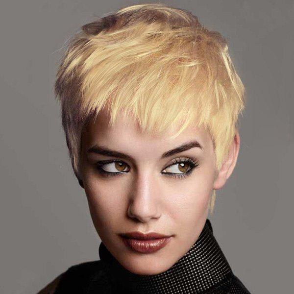 Women's Masculine Fluffy Short Boy Cut Human Hair Straight Capless Wig
