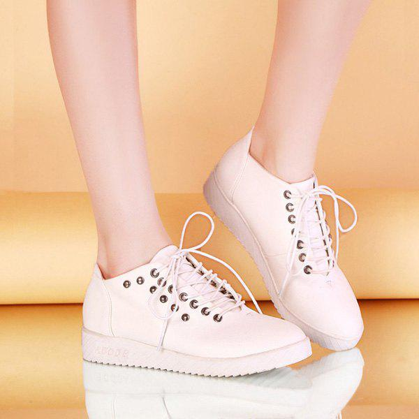 Fashionable Lace-up and Rivet Design Women's Sneakers - WHITE 39