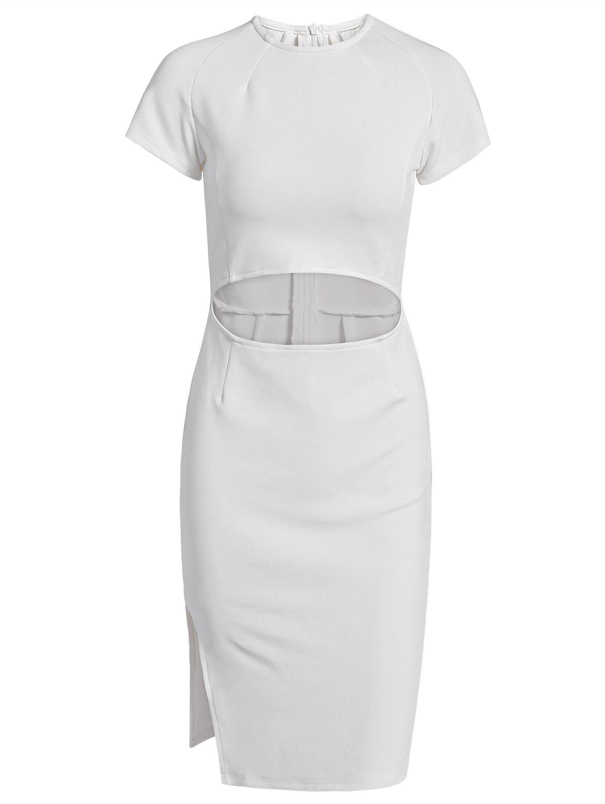 Graceful Waist Cut Out High Slit Bodycon White Midi Dress For Women - WHITE S