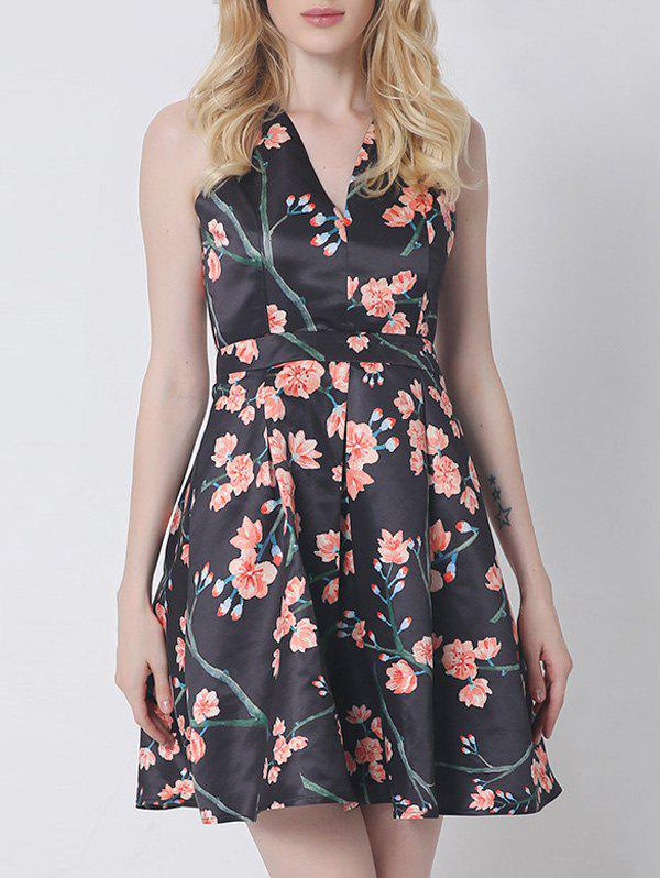 Vintage Open Back Floral Dress For Women - BLACK 2XL
