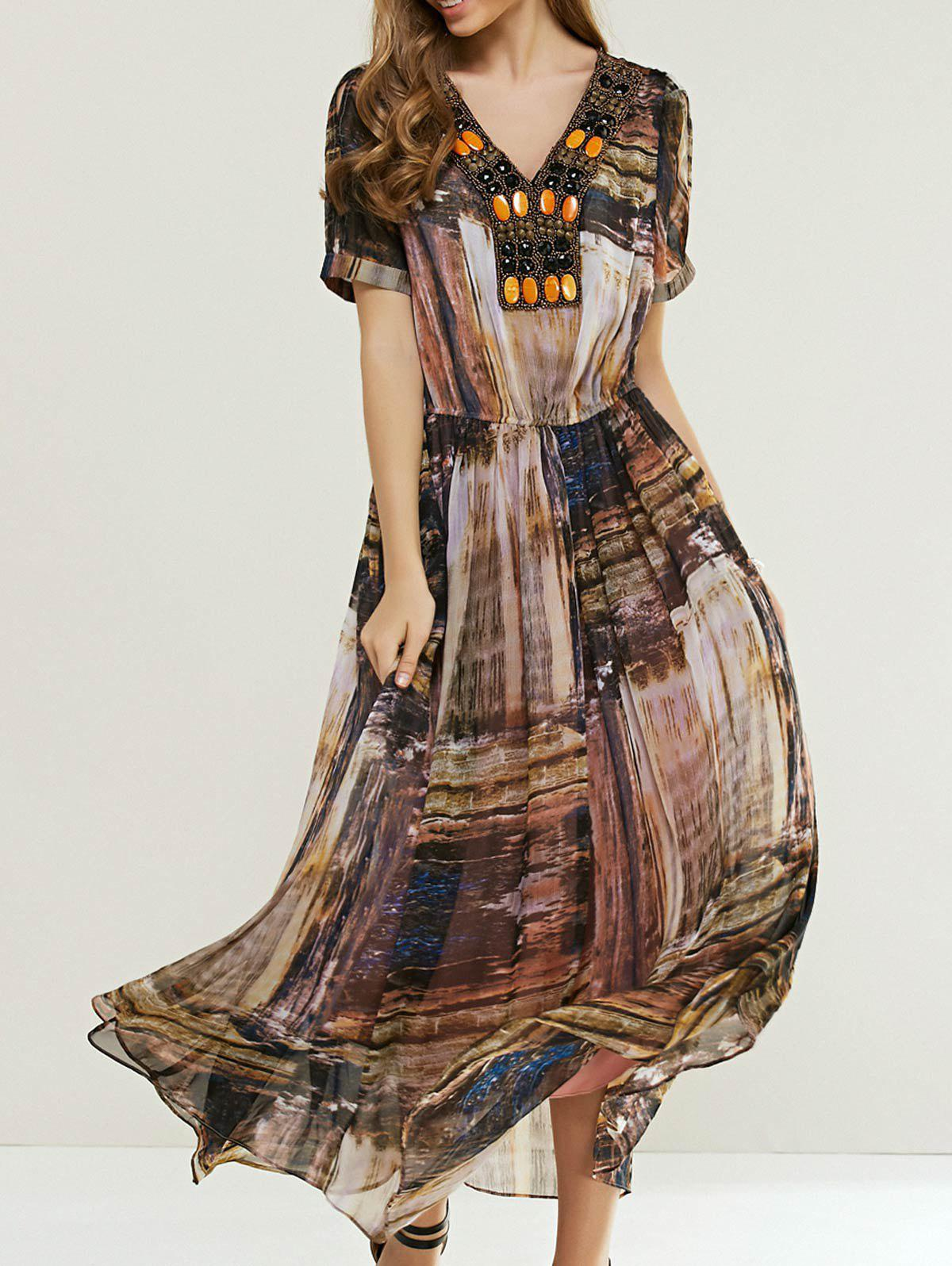 Bohemian Print Elastic Waist Beaded Maxi Dress - COFFEE ONE SIZE