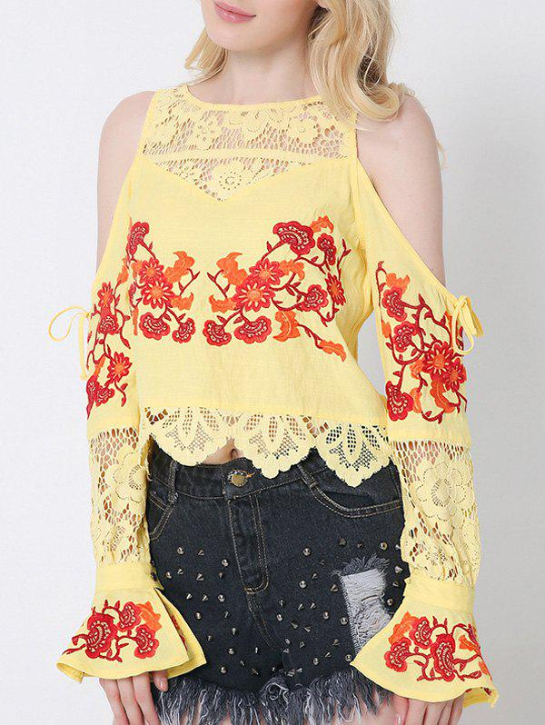 Charming Cold Shoulder Floral Laciness Blouse For Women - YELLOW 2XL