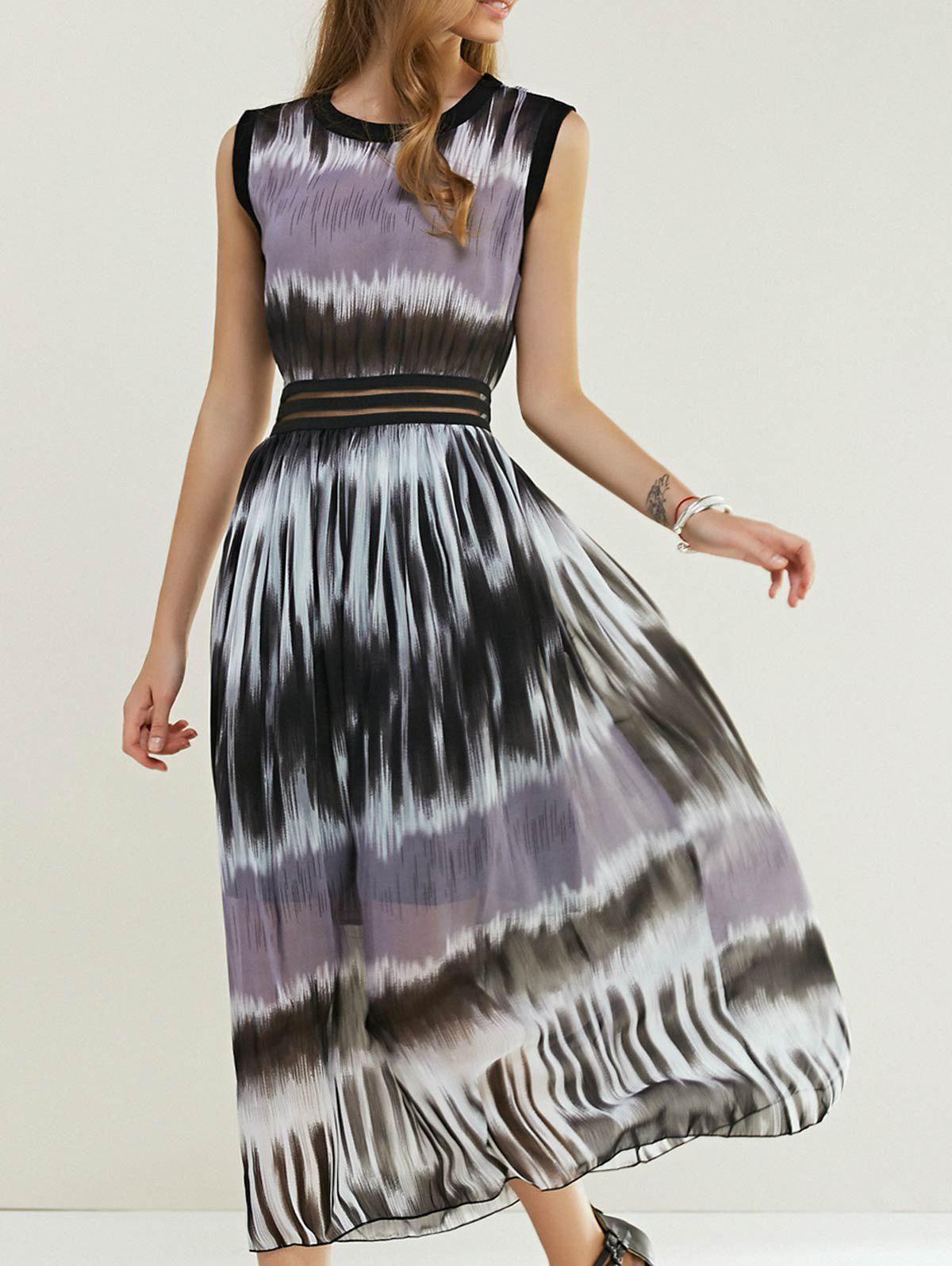 Bohemian Tie-Dye Print Stripe Slim Waist Maxi Dress - COLORMIX ONE SIZE