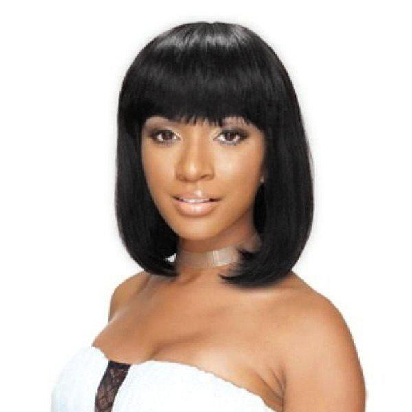 Outstanding Women's Medium Human Hair Straight Full Bang Capless Wig - JET BLACK