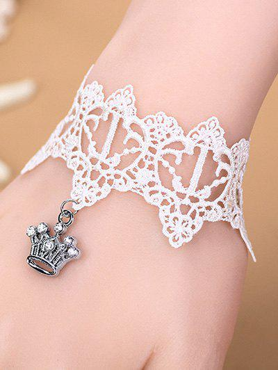 Stylish Rhinestone Crown White Lace Bracelet - WHITE
