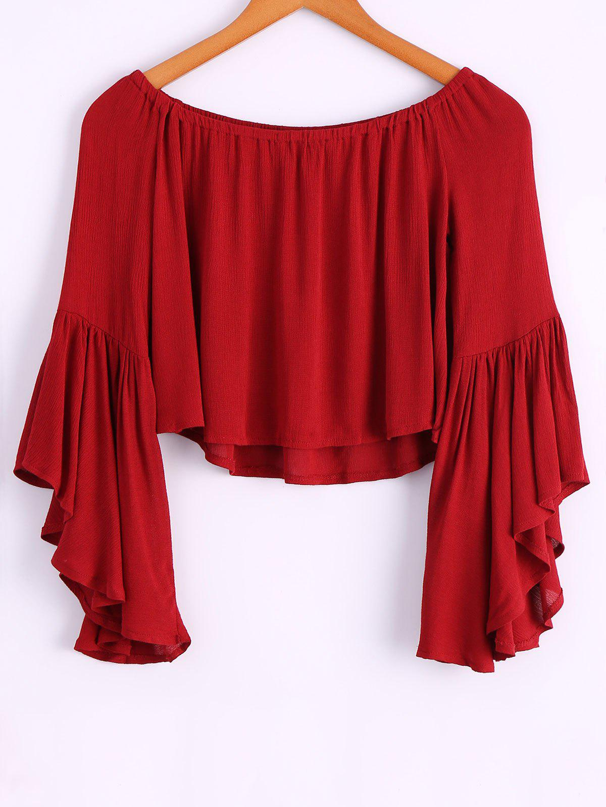 2018 casual off the shoulder bell bottom sleeve wine red t for Bell bottom sleeve shirt