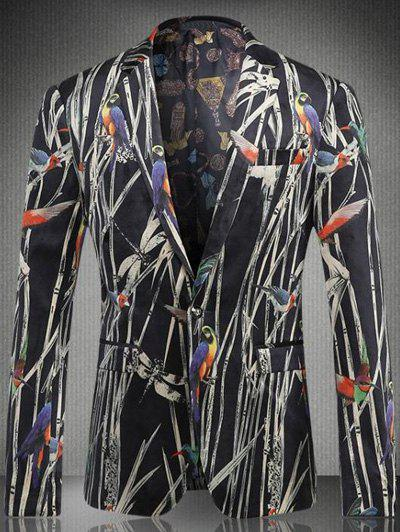 Bird Plant Printed Breast Pocket Lapel Long Sleeve Men's One-Button Blazer