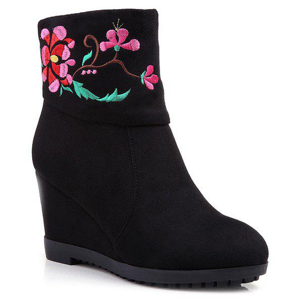 Ethnic Style Embroidery and Wedge Heel Design Women's Short Boots - BLACK 39