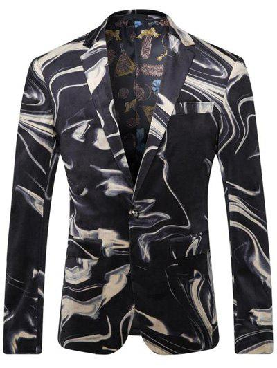 Abstract Printed Breast Pocket Lapel Long Sleeve Men's One-Button Blazer - BLACK 3XL