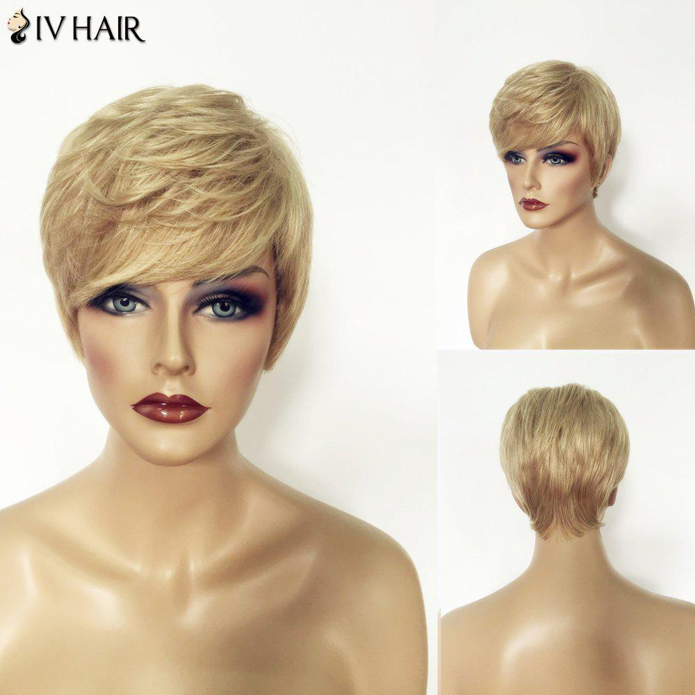 Shaggy Shot Layered Blonde Mixed Human Hair Natural Straight Siv Hair Capless Wig For Women - COLORMIX