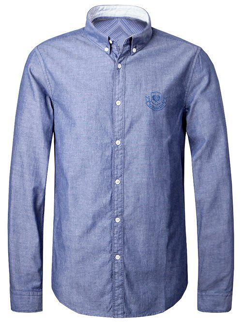 Embroidery Logo Turn-Down Collar Men's Button-Down Shirt