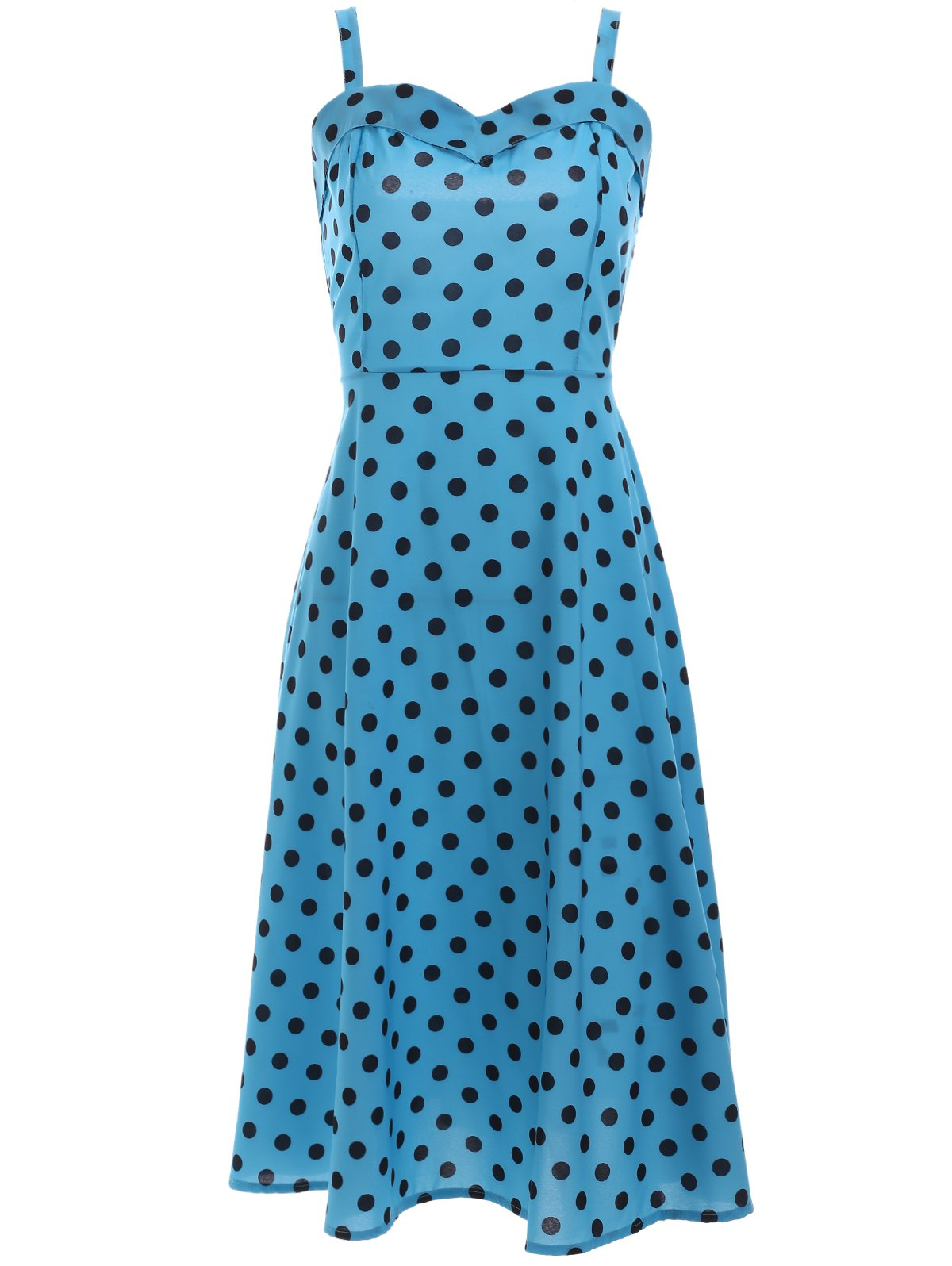 Vintage Style Sweetheart Neck Polka Dot Dress