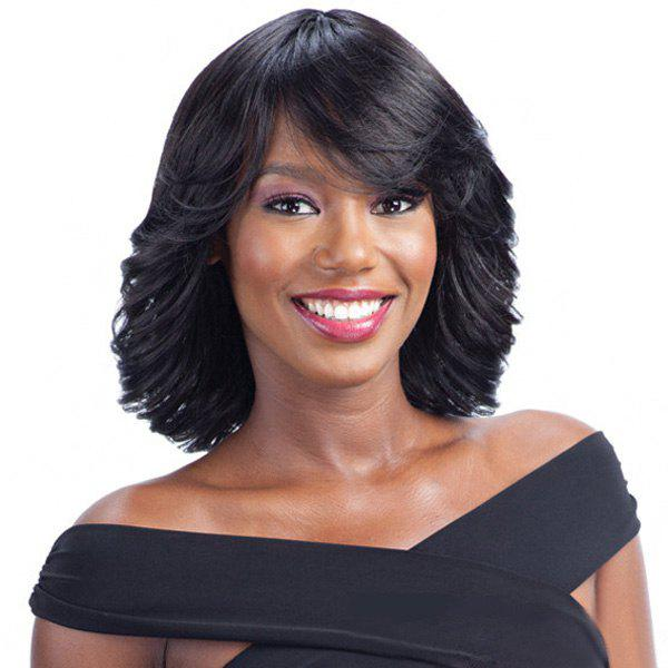 Stunning Women's Medium Human Hair Side Bang Wavy Capless Wig - JET BLACK