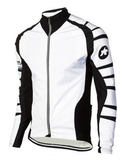 Active Color Blocks Stand Collar Long Sleeves Bike Jerseys For Men - WHITE 3XL