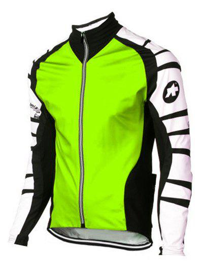 Active Color Blocks Stand Collar Long Sleeves Bike Jerseys For Men