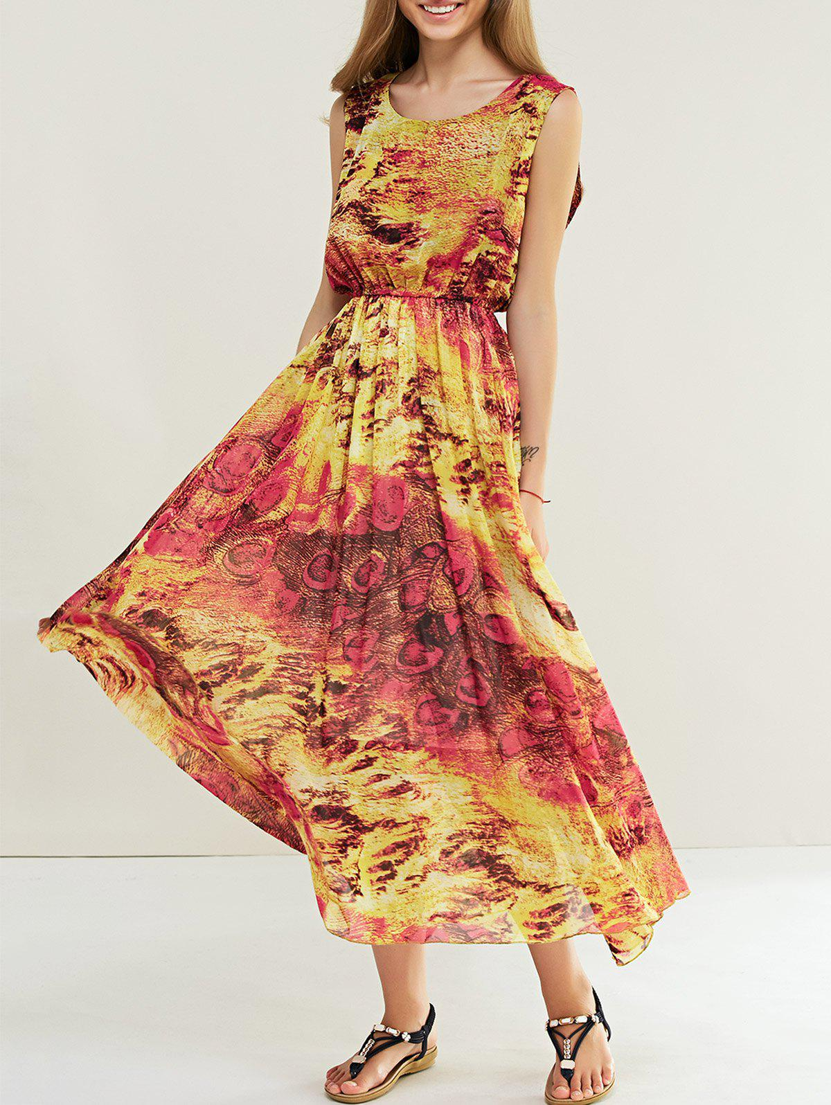 Bohemian Abstract Print Elastic Waist Sleeveless Maxi Dress - ORANGE ONE SIZE