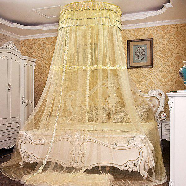Chic Style Dome Layer Wavy Hanging Bedroom Mosquito Net - L YELLOW