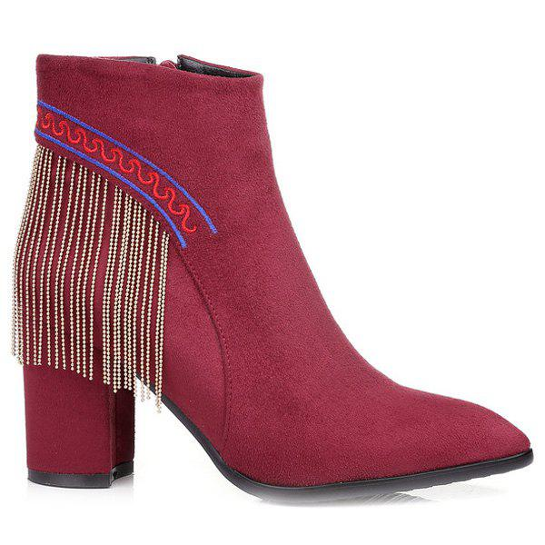 Ethnic Style Fringe and Embroidery Design Women's Ankle Boots - WINE RED 39