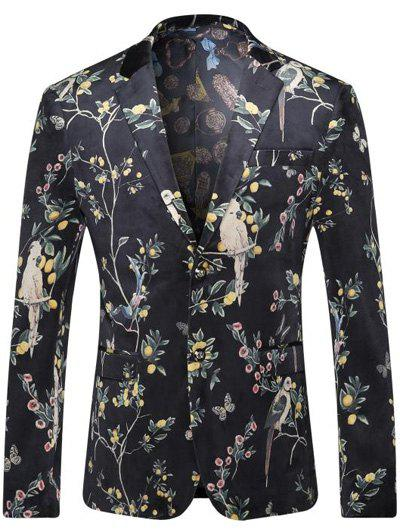 Breast Pocket Floral Printed Lapel Long Sleeve Men's Blazer - BLACK 3XL