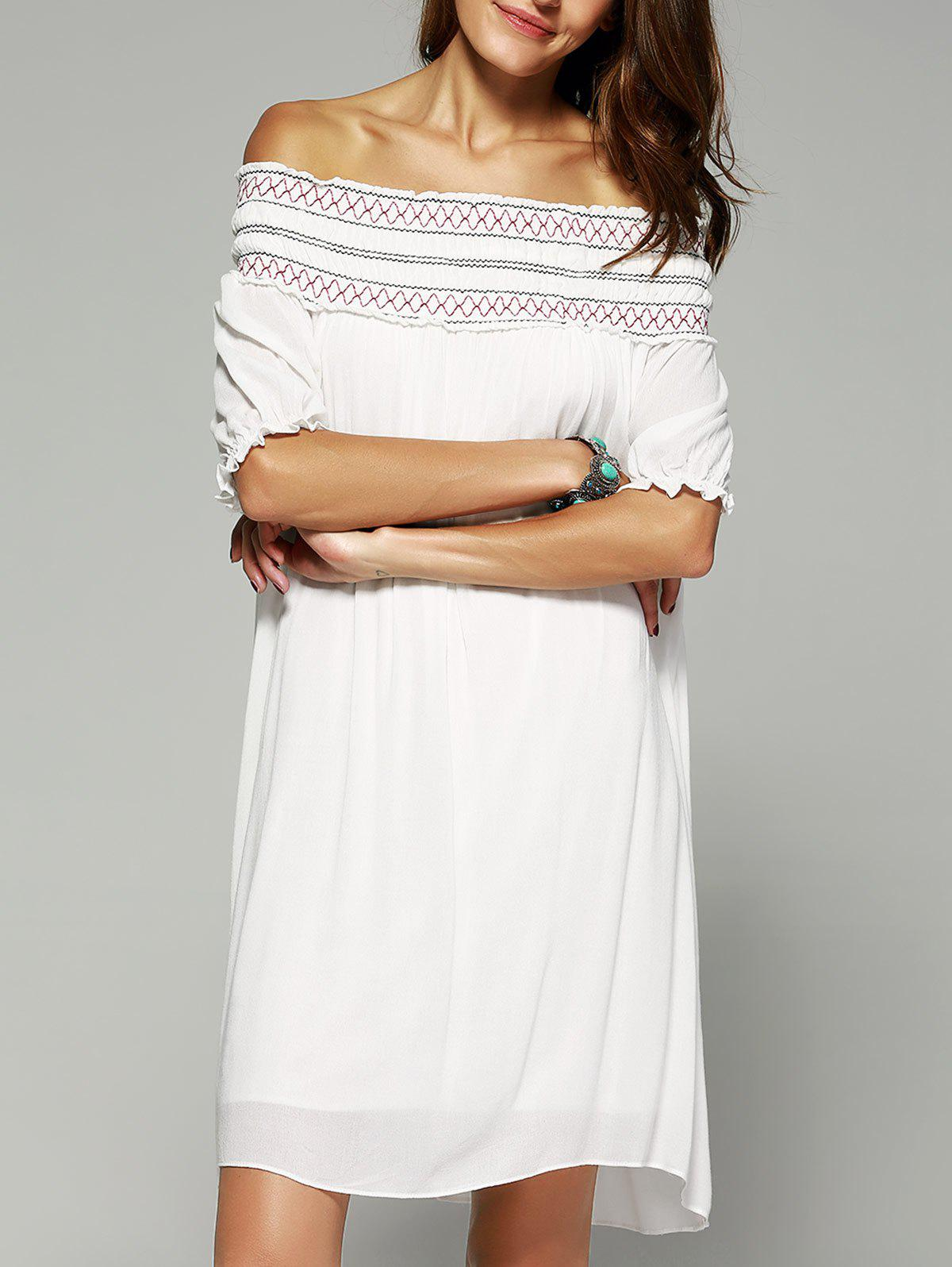 Bohemian Style Off The Shoulder Frilled Dress - WHITE XL