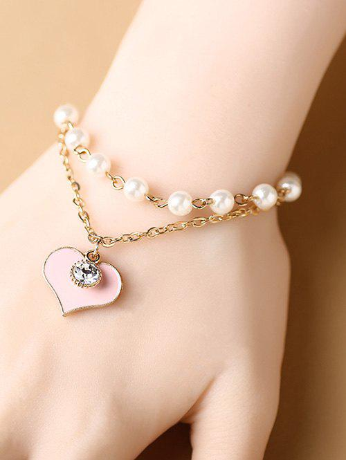 Stylish Rhinestone Heart Layered Charm Bracelet - COLORMIX