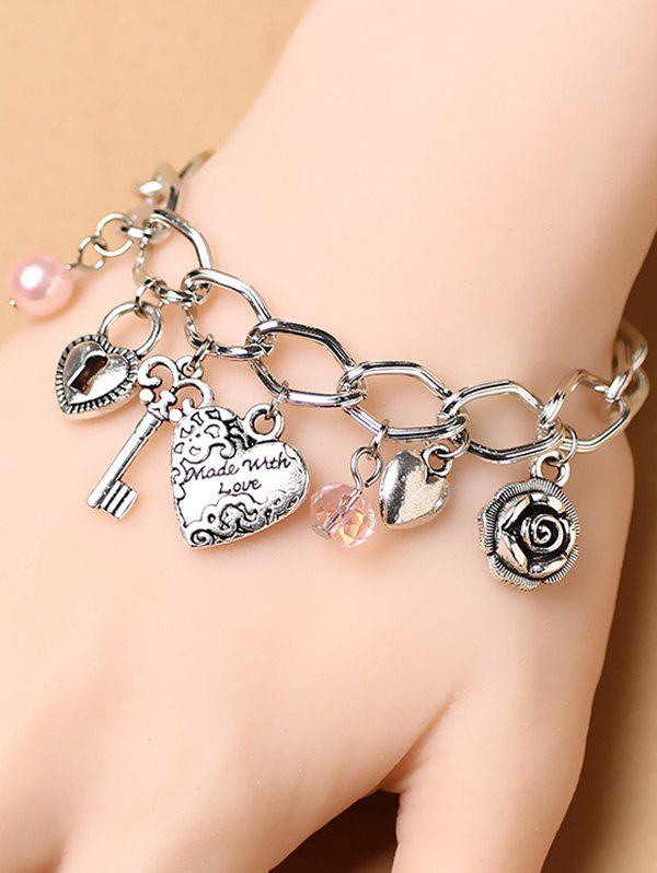 Stylish Heart Key Lock Charm Bracelet - SILVER