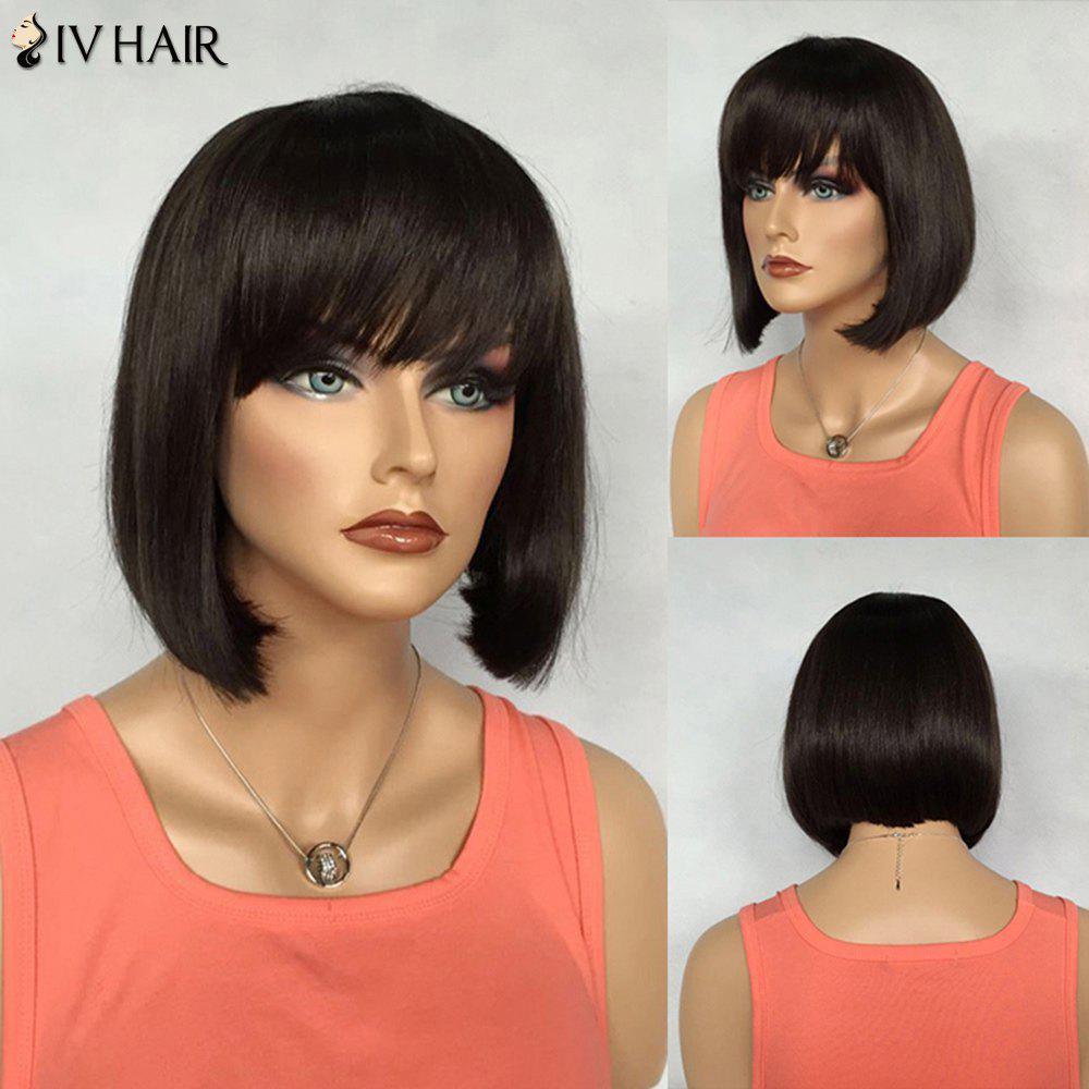 Bob Hairstyle Straight Real Natural Hair Short Siv Hair Capless Wig For Women - JET BLACK