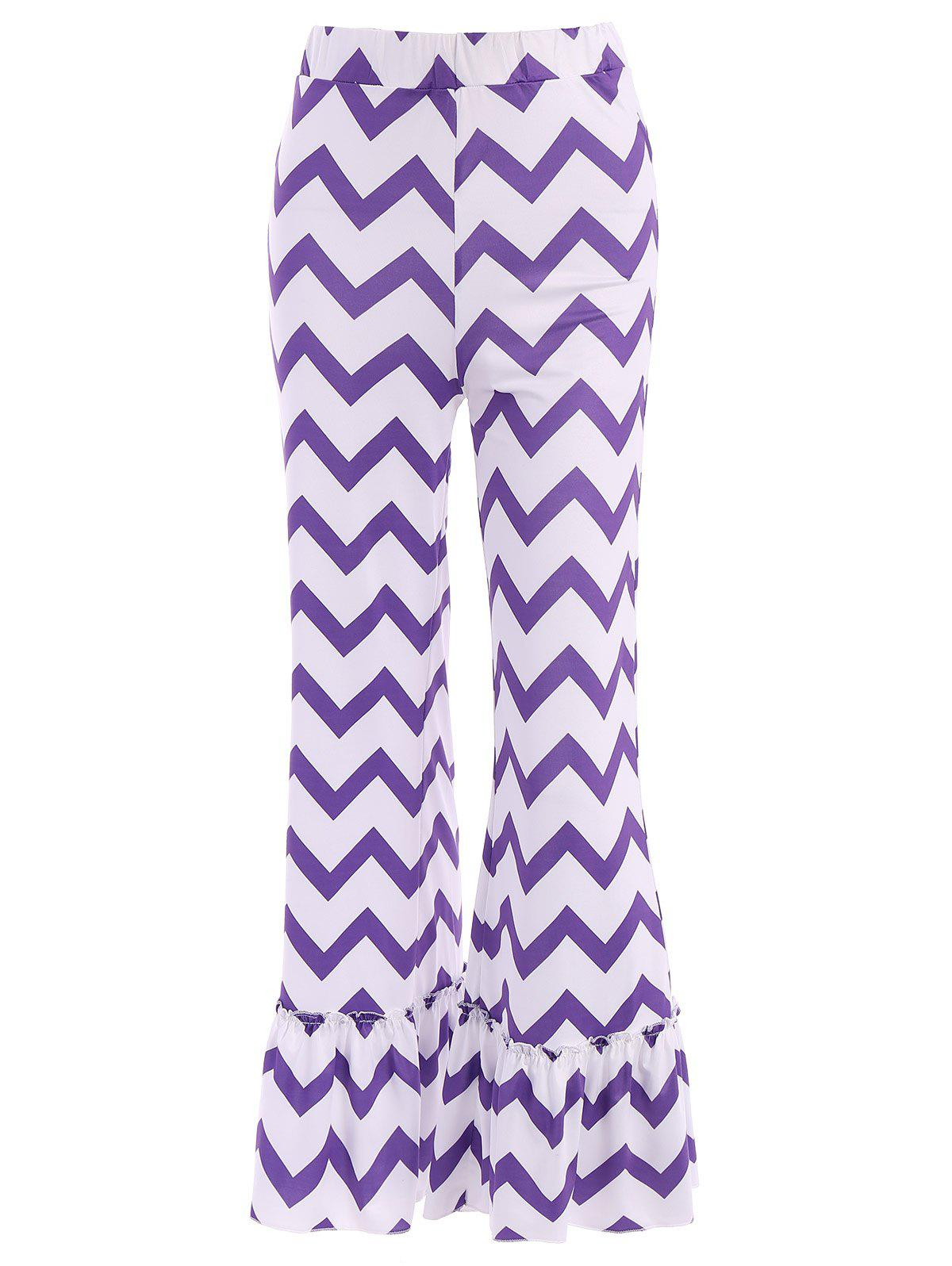 Stylish Elastic Waist Boot Cut Zig Zag Women's Ruffle Pants - COLORMIX L