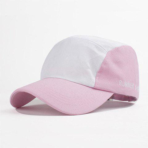 Fashion Simple Letter Embroidery Color Block College Style Women's Baseball Hat - PINK