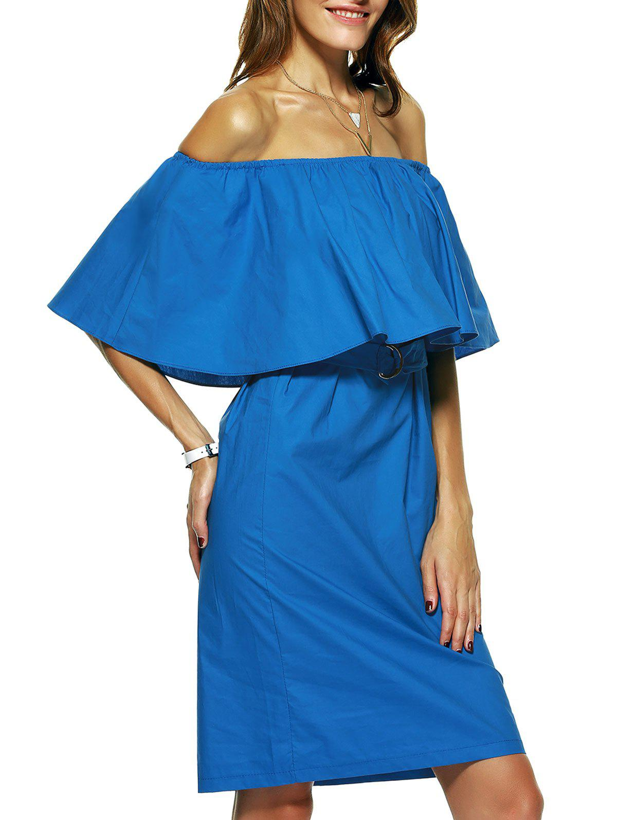 Backless Overlay Tie Belt Dress - BLUE XL