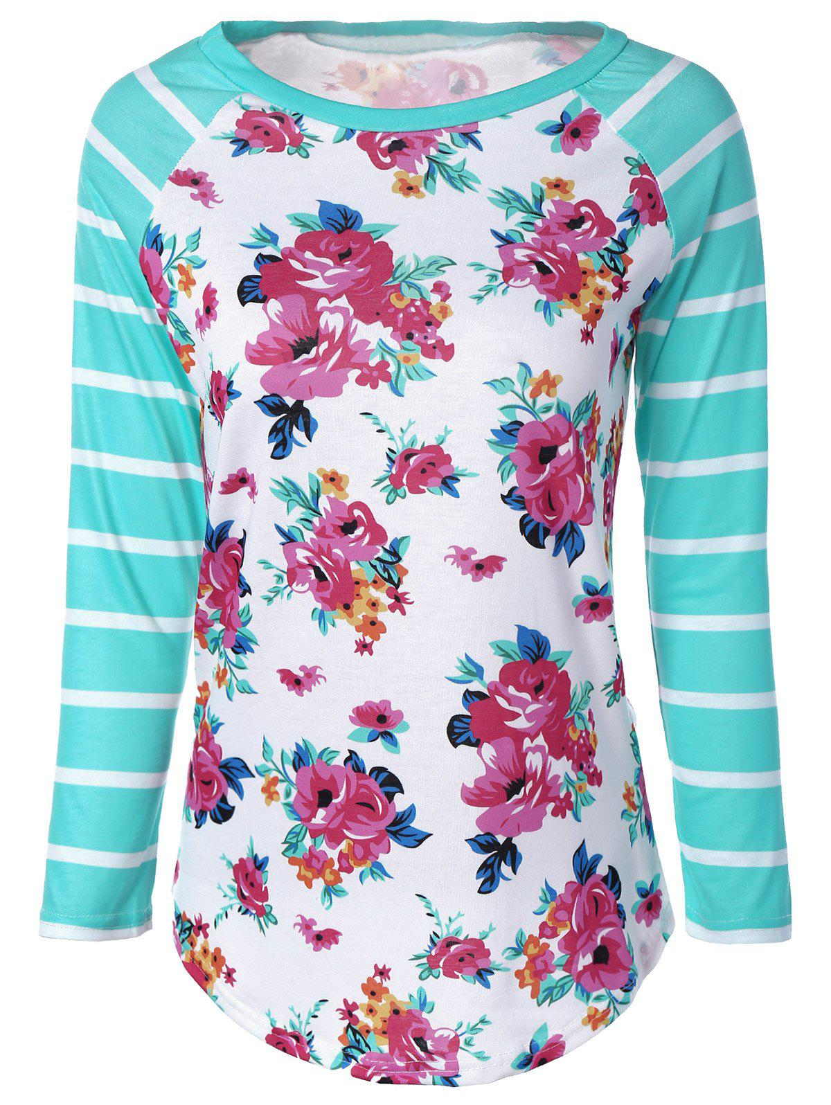 Stylish Stripe Floral Print Long Raglan Sleeve T-Shirt - COLORMIX L