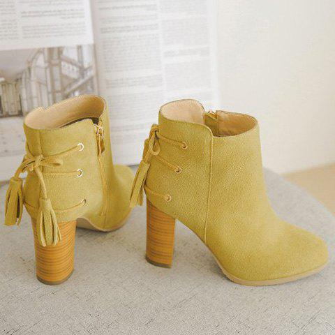 Trendy Suede and Chunky Heel Design Women's Ankle Boots - YELLOW 39