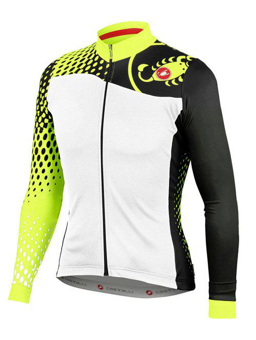 Active Hit Color Stand Collar Long Sleeves Bike Jerseys For Men - YELLOW M