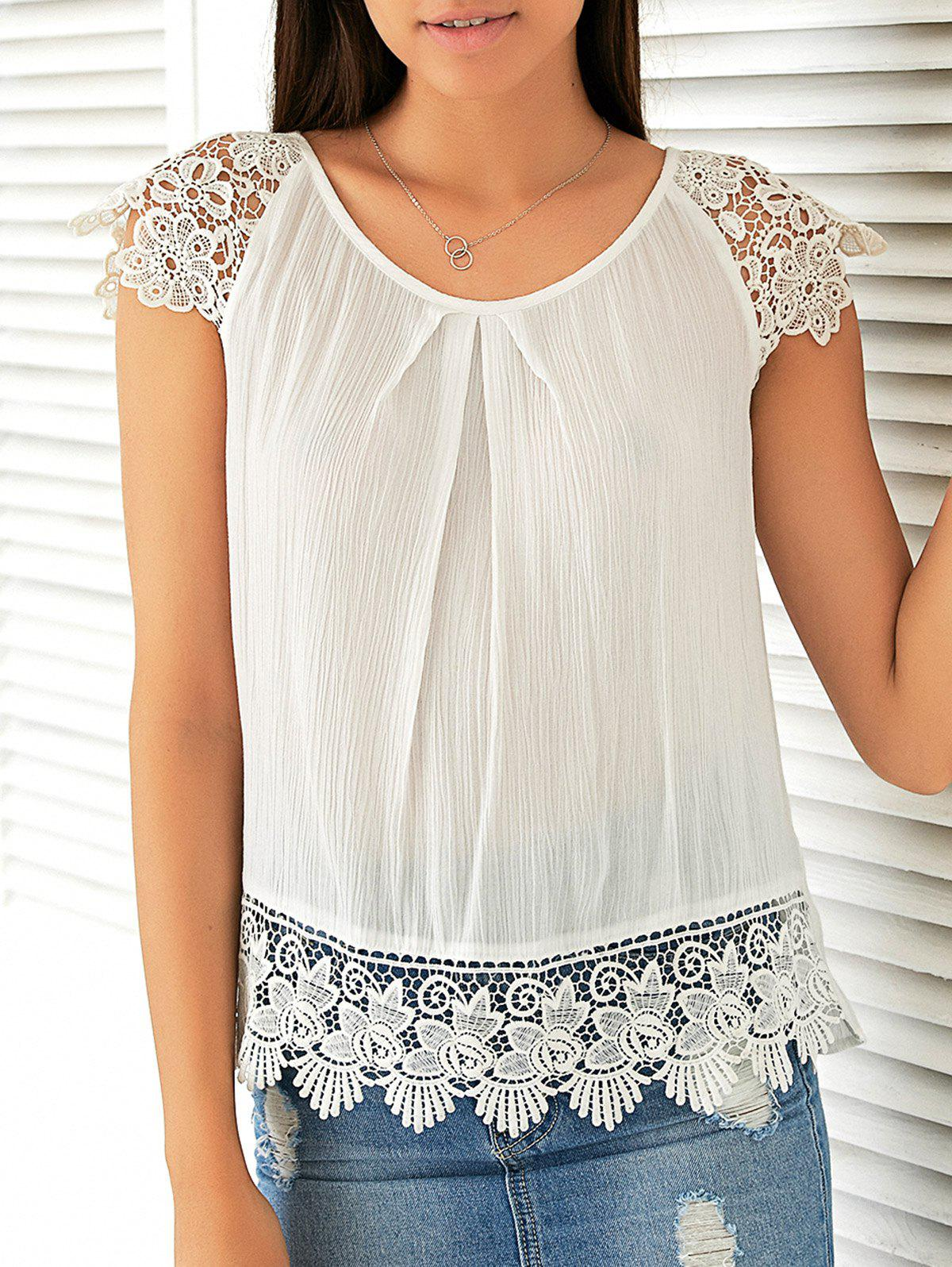 Sweet Cap Sleeve Lace Patchwork Blouse - WHITE M