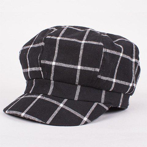 Stylish Gingham Pattern Retro Painter Women's Newsboy Hat - BLACK