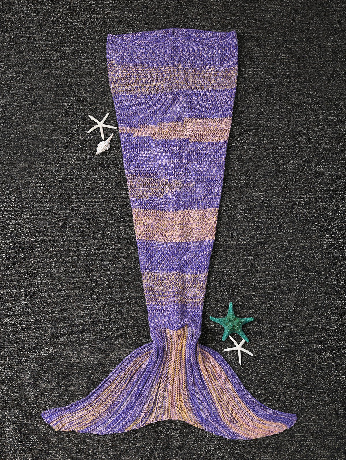 Stylish Stripe Knitted Mermaid Tail Design Blanket For Kids cute argyle cut out knitted mermaid blanket for children