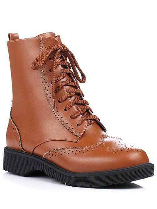 Leisure Tie Up and Engraving Design Women's Short Boots