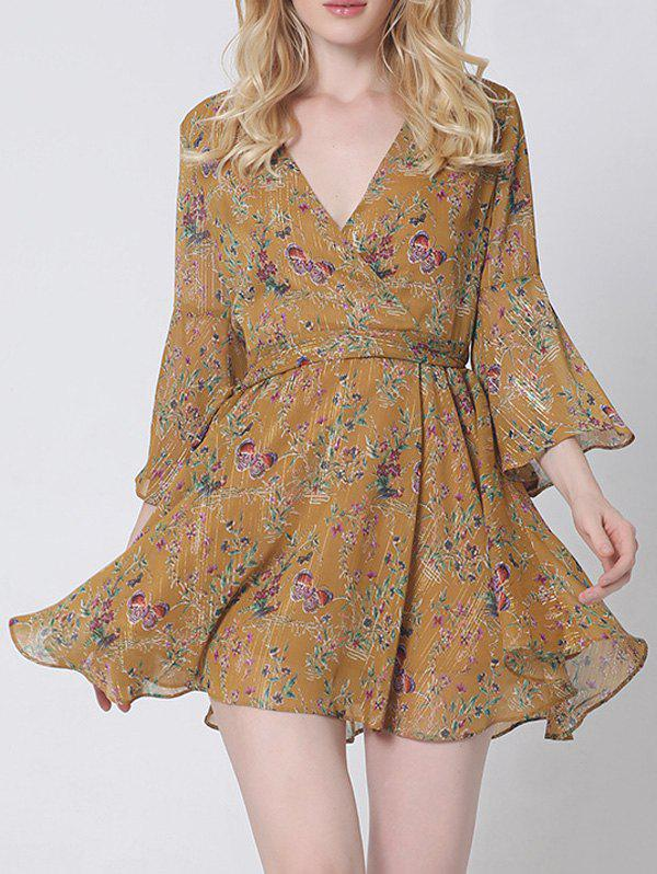 Graceful Flare Sleeve Floral Wrap Dress For Women - EARTHY 2XL