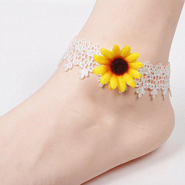 Lace Sunflower Anklet - WHITE