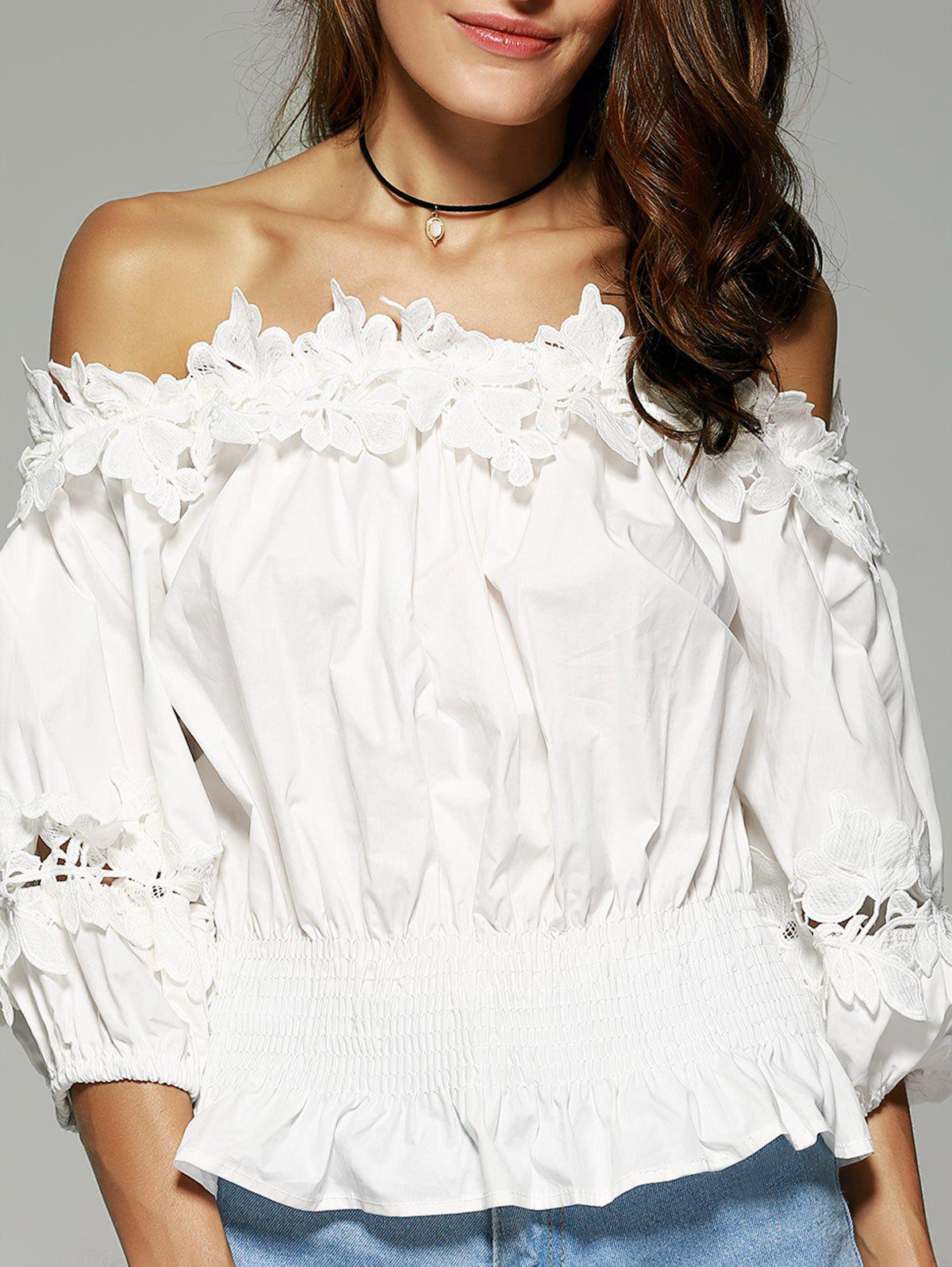 Off The Shoulder Laciness Waisted Blouse - WHITE XL