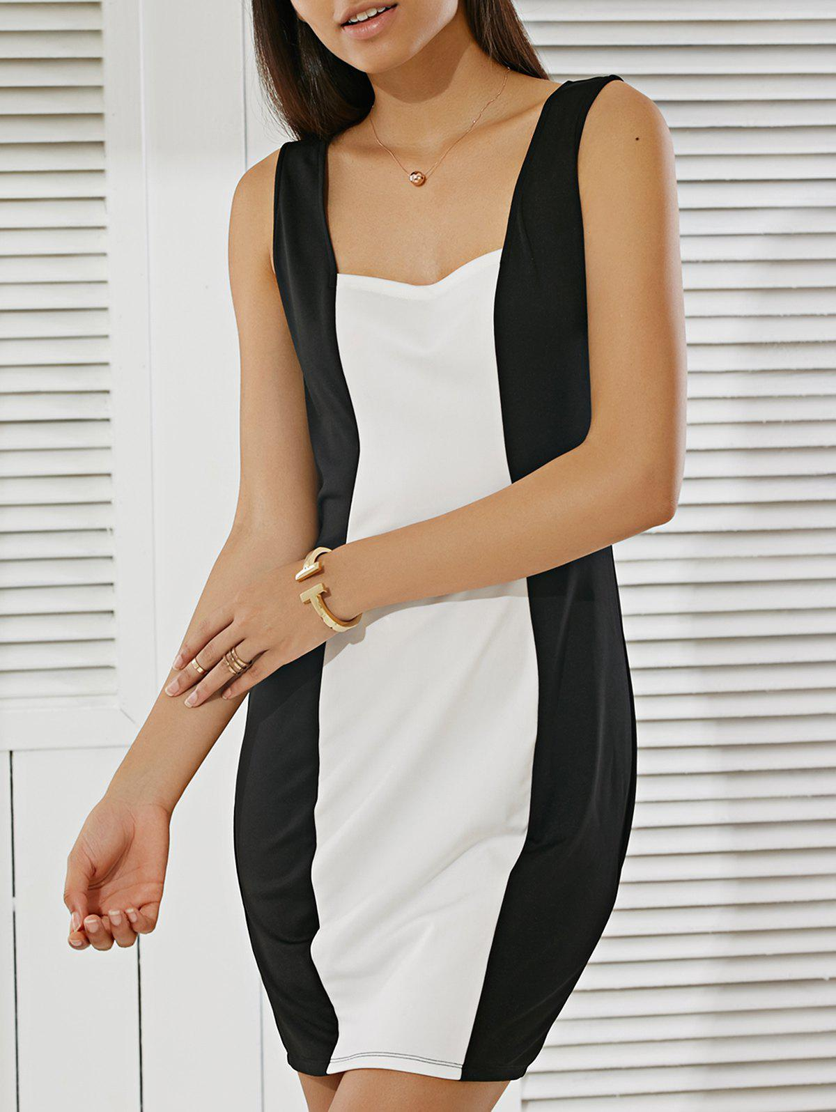 Fashionable Fitted Square Neck Color Block Dress - WHITE/BLACK M