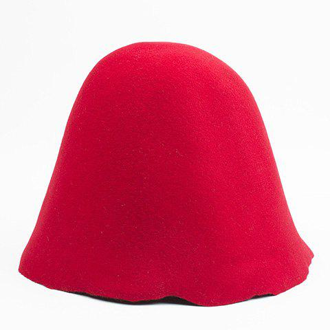 Stylish Solid Color Hight Top Women's Felt Hat - RED