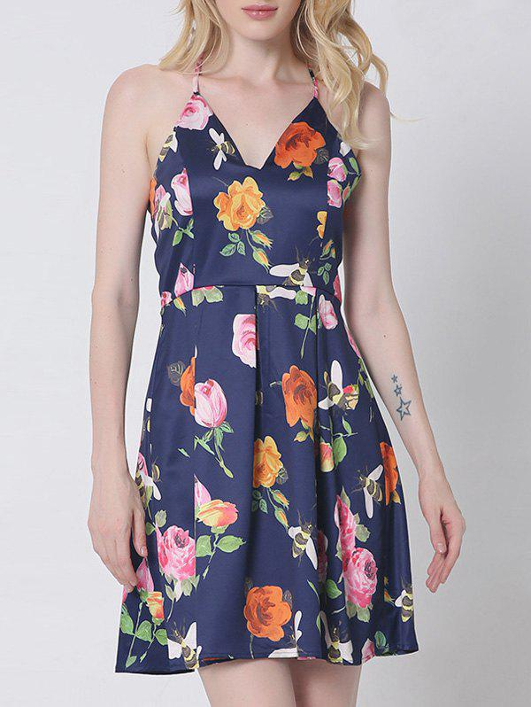 Retro Spaghetti Strap Open Back Floral Dress For Women - PURPLISH BLUE 2XL