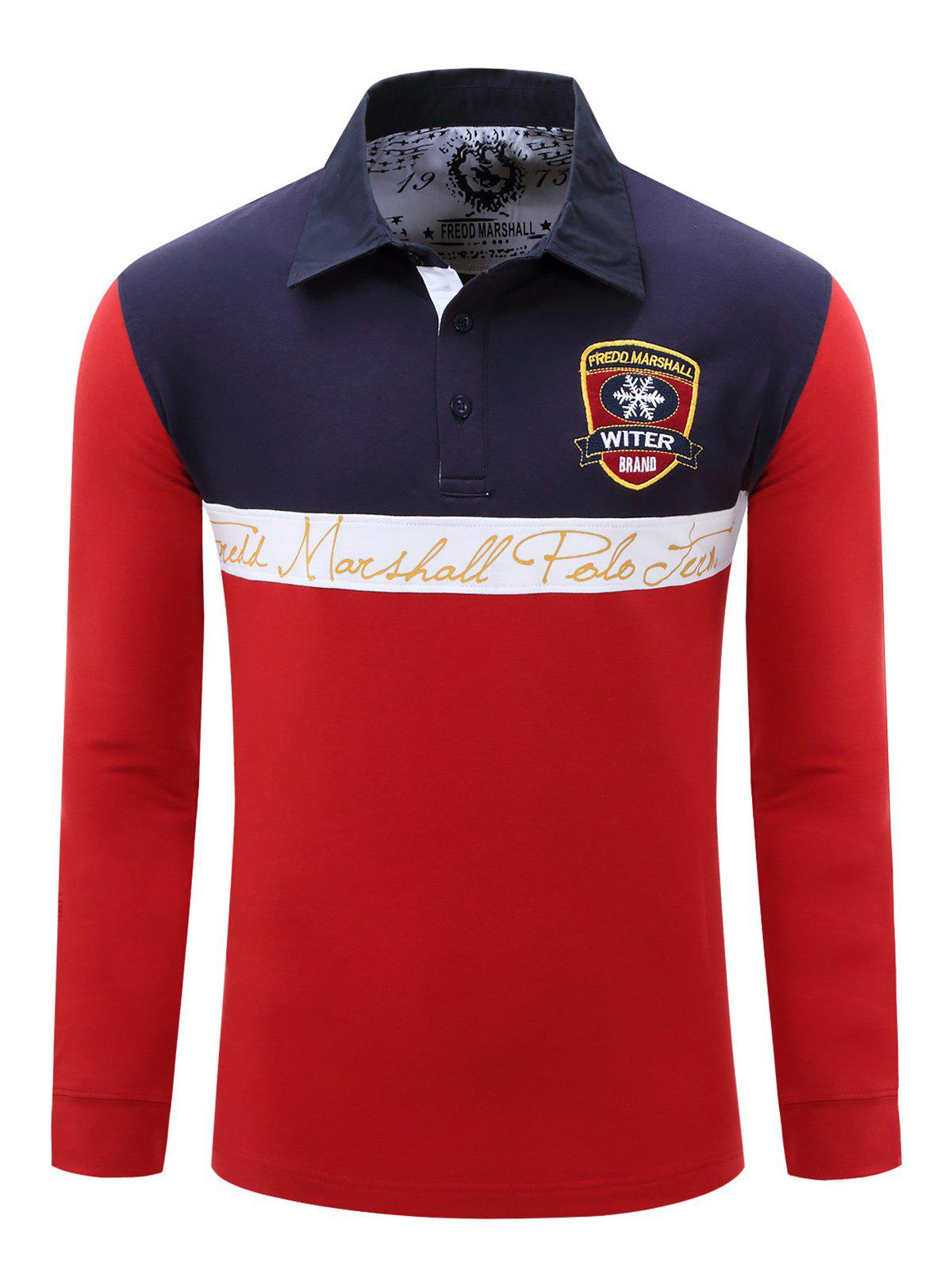 Polo Collar Splicing Design Color Block Badge Embroidered Men's T-Shirt - RED 2XL