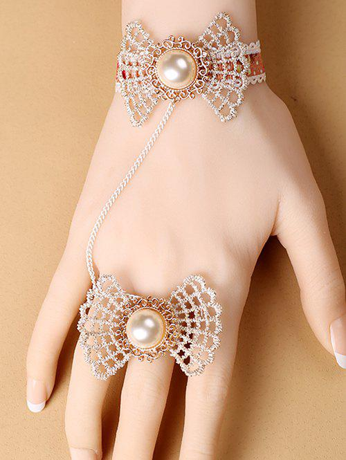 Stylish Bow Lace Bracelet with Ring - COLORMIX
