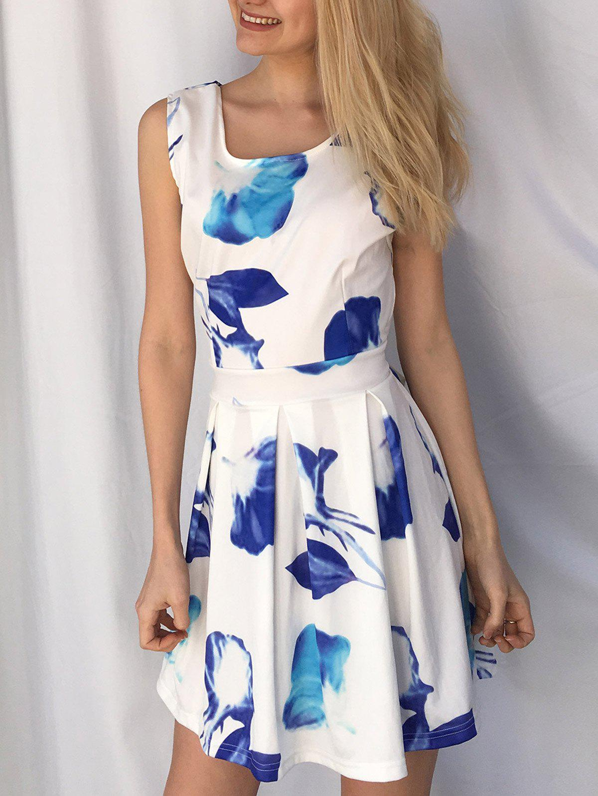 Leisure Sleeveless Scoop Neck Hollow Out Floral Print Women's Dress - BLUE/WHITE XL